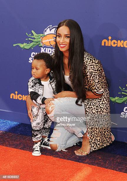 Singer Singer Ciara and son Future Zahir Wilburn arrive at the Nickelodeon Kids' Choice Sports Awards 2015 at UCLA's Pauley Pavilion on July 16 2015...