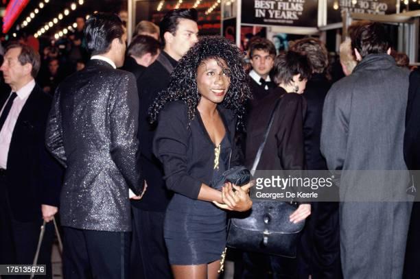 Singer Sinitta attends a premiere the Odeon Cinema in 1990 ca in London England