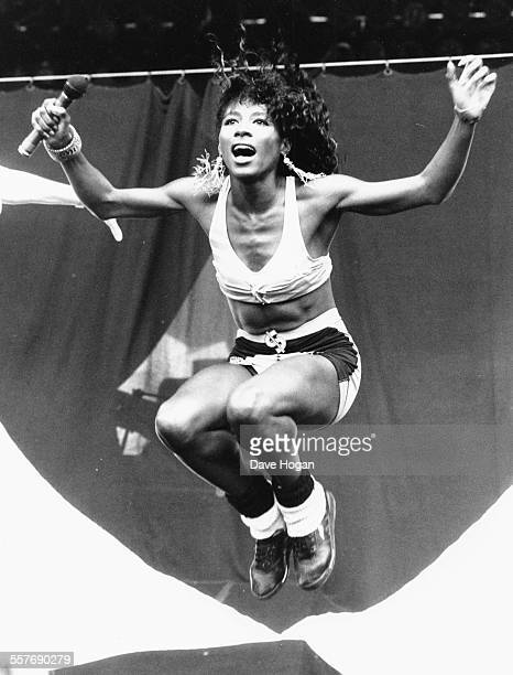 Singer Sinitta performing on stage at a music festival Wembley Stadium London August 19th 1989