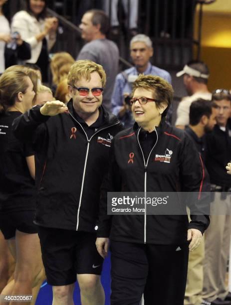 Singer Sir Elton John and tennis legend Billie Jean King greets during the Mylan World TeamTennis Matches at ESPN Wide World of Sports Complex on...