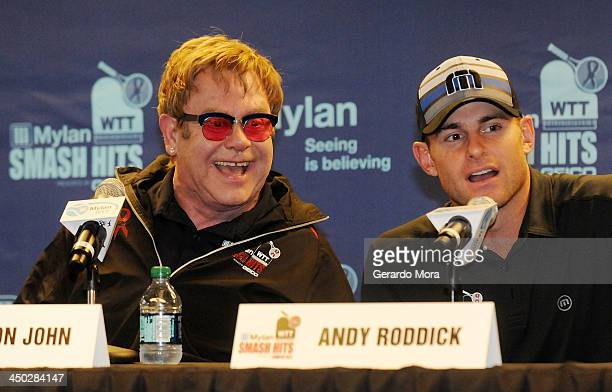 Singer Sir Elton John and Tennis player Andy Roddick smile during the press conference for Mylan World TeamTennis at ESPN Wide World of Sports...