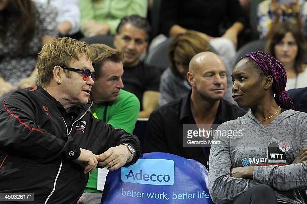 Singer Sir Elton John and tennis player Venus Williams attend the Mylan World TeamTennis Matches at ESPN Wide World of Sports Complex on November 17...