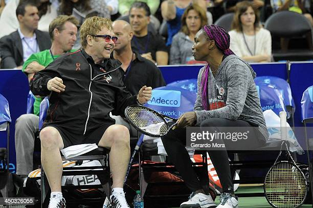 Singer Sir Elton John and tennis player Venus Williams smile during the Mylan World TeamTennis Matches at ESPN Wide World of Sports Complex on...