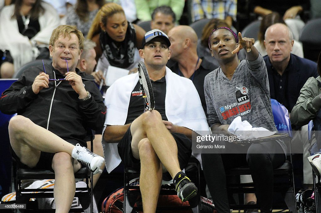 Singer Sir Elton John (L) and tennis players Andy Roddick (C) and Venus Williams attend the Mylan World TeamTennis Matches at ESPN Wide World of Sports Complex on November 17, 2013 in Lake Buena Vista, Florida.