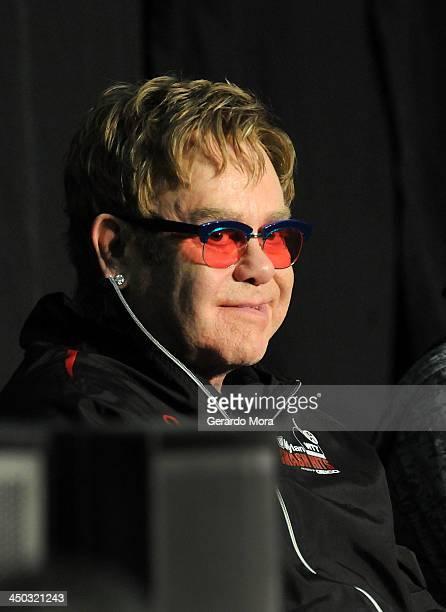 Singer Sir Elton John attend the Mylan World TeamTennis VIP reception at ESPN Wide World of Sports Complex on November 17 2013 in Lake Buena Vista...