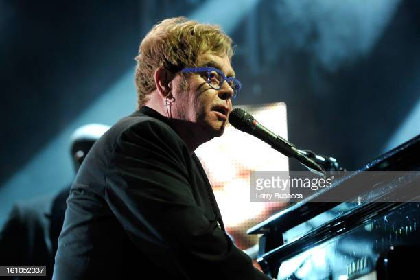Singer Sir Elton John performs onstage at MusiCares Person Of The Year Honoring Bruce Springsteen on February 8 2013 in Los Angeles California