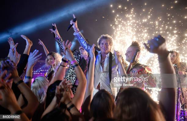 Singer Sir Rod Stewart and DNCE perform during a pretaping for the 2017 MTV Video Music Awards at the Palms Casino Resort on August 24 2017 in Las...