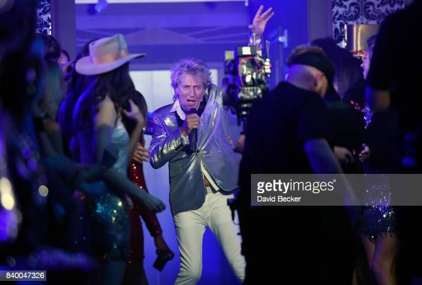 Singer Sir Rod Stewart performs during a pretaping for the 2017 MTV Video Music Awards at the Palms Casino Resort on August 24 2017 in Las Vegas...