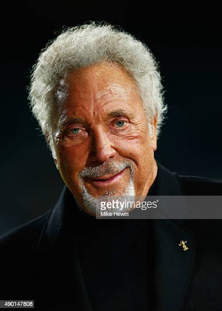 Singer Sir Tom Jones is interviewed prior to the 2015 Rugby World Cup Pool A match between England and Wales at Twickenham Stadium on September 26,...