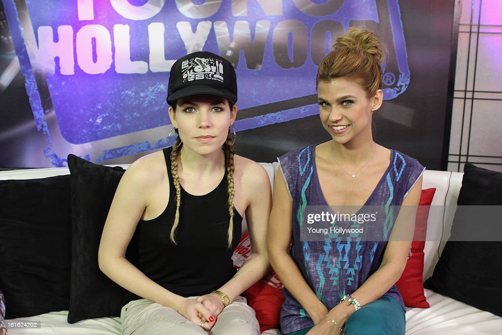Singer Skylar Grey (L) and host Erika Ross at the Young Hollywood Studio on February 12, 2013 in Los Angeles, California.