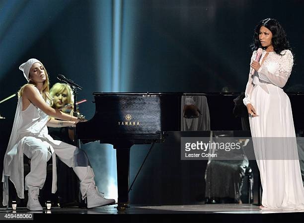 Singer Skylar Grey and rapper Nicki Minaj perform onstage at the 2014 American Music Awards at Nokia Theatre LA Live on November 23 2014 in Los...