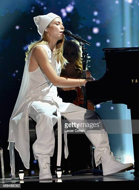 Singer Skylar Grey performs onstage at the 2014 American Music Awards at Nokia Theatre LA Live on November 23 2014 in Los Angeles California