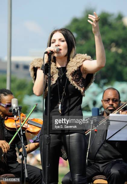 Singer Skylar Grey performs the Dalai Lama's talk for world peace at the US Capital West Lawn on July 9 2011 in Washington DC