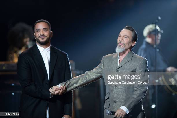 Singer Slimane Nebchi and Florent Pagny perform during the 33rd 'Les Victoires De La Musique' at La Seine Musicale on February 9 2018 in...