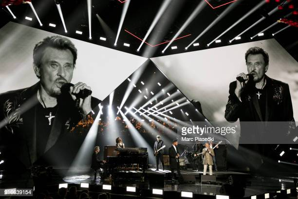 Singer Slimane Nebchi Yarol Poupaud and Florent Pagny perform during the 33rd Victoires de la Musique 2018 at La Seine Musicale on February 9 2018 in...