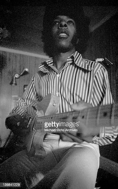 Singer Sly Stone of the psychedelic soul group 'Sly And The Family Stone' plays a Fender Telecaster electric guitar on March 9 1969