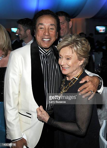 Singer Smokey Robinson and actress Cloris Leachman attend the 20th Annual Elton John AIDS Foundation Academy Awards Viewing Party at The City of West...