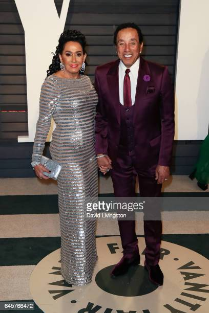 Singer Smokey Robinson and Frances Glandney attend the 2017 Vanity Fair Oscar Party hosted by Graydon Carter at the Wallis Annenberg Center for the...