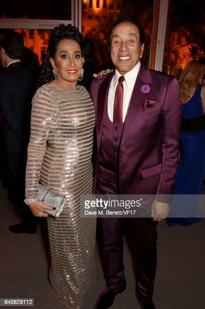 Singer Smokey Robinson and Frances Glandney attend the 2017 Vanity Fair Oscar Party hosted by Graydon Carter at Wallis Annenberg Center for the...