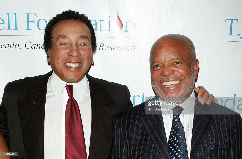 Singer Smokey Robinson and Music Legend Berry Gordy arrive at the 32nd Annual T.J. Martell Foundation Gala at the New York Hilton and Towers On October 23, 2007 in New York City.