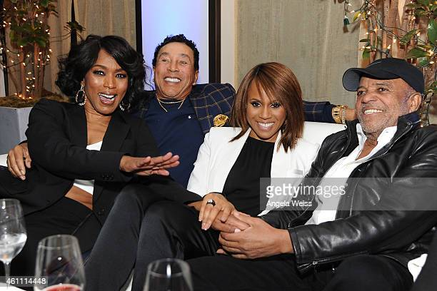 Singer Smokey Robinson director Angela Bassett singer Deborah Cox and record producer Berry Gordy attend the premiere after party of Lifetime's...