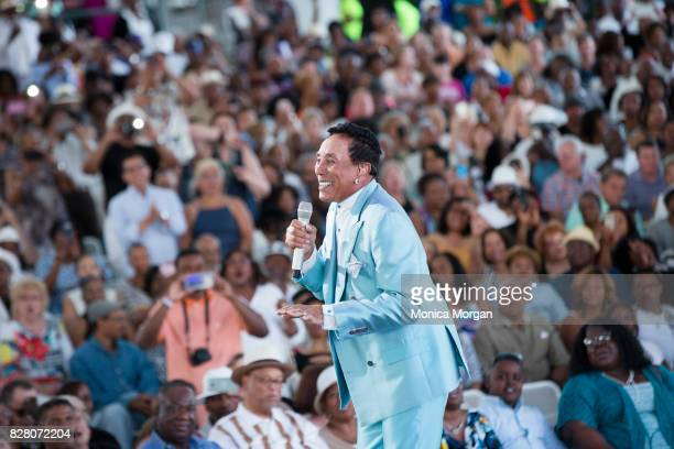 Singer Smokey Robinson performs at Chene Park on July 8 2017 in Detroit Michigan