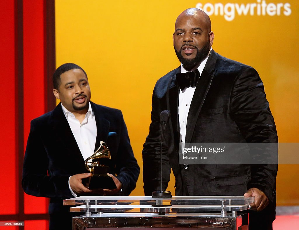 Singer Smokie Norful (L) and Aaron W. Lindse speak onstage during The 57th Annual GRAMMY Awards premiere ceremony at STAPLES Center on February 8, 2015 in Los Angeles, California.