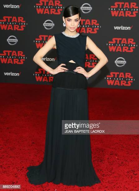 Singer Sofia Carson arrives for the premiere of Disney Pictures and Lucasfilm's 'Star Wars The Last Jedi' at The Shrine Auditorium in Los Angeles on...