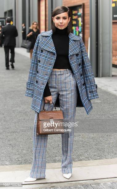 Singer Sofia Carson is seen arriving to Michael Kors Collection SS19 fashion show during New York Fashion Week at Pier 17 on September 12 2018 in New...