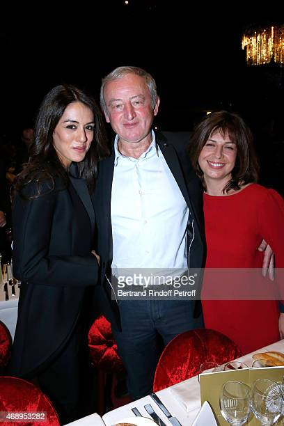 Singer Sofia Essaidi Writer Yann Queffelec and his wife Servanne attend the 'Paris Merveilles' Lido New Revue Opening Gala on April 8 2015 in Paris...