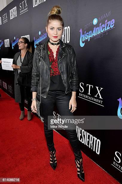Singer Sofia Reyes attends the screening of STX Entertainment's 'Desierto' at Regal LA Live Stadium 14 on October 11 2016 in Los Angeles California
