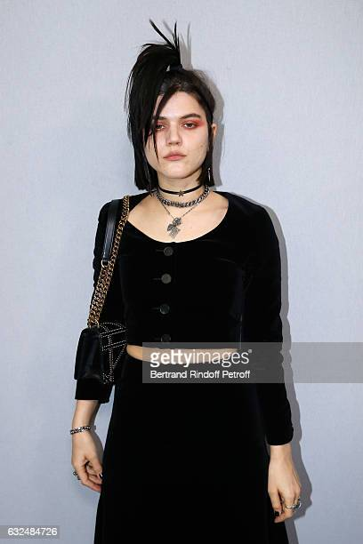 Singer Soko poses backstage after the Christian Dior Spring Summer 2017 show as part of Paris Fashion Week on January 23 2017 in Paris France