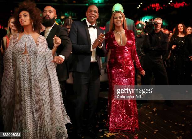 Singer Solange Knowles Alan Ferguson hip hop artist JayZ and singer Beyonce during The 59th GRAMMY Awards at STAPLES Center on February 12 2017 in...