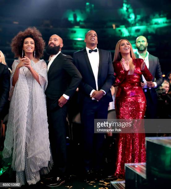 Singer Solange Knowles, Alan Ferguson, hip hop artist Jay-Z and singer Beyonce during The 59th GRAMMY Awards at STAPLES Center on February 12, 2017...