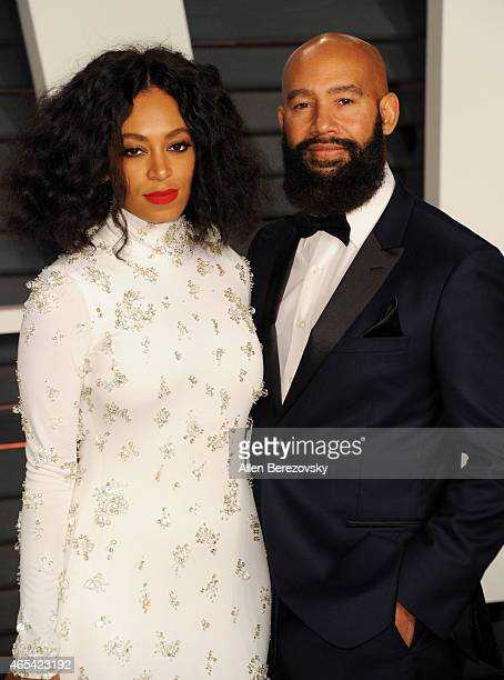 Singer Solange Knowles and director Alan Ferguson attend the 2015 Vanity Fair Oscar Party hosted by Graydon Carter at Wallis Annenberg Center for the...
