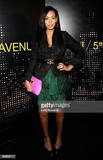 Singer Solange Knowles arrives for the opening of the new Armani 5th Avenue store on February 17 2009 in New York City