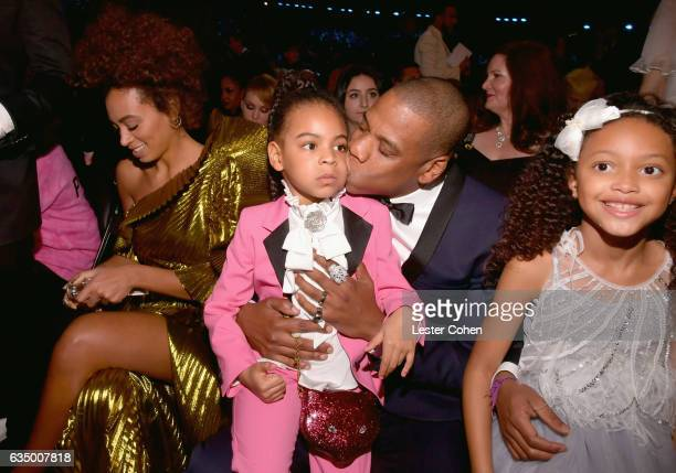 Singer Solange Knowles Blue Ivy Carter hip hop artist JayZ and Guest during The 59th GRAMMY Awards at STAPLES Center on February 12 2017 in Los...