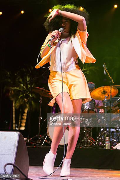 Singer Solange Knowles performs at the Coachella valley music and arts festival at The Empire Polo Club on April 19, 2014 in Indio, California.