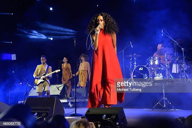 Singer Solange Knowles performs during Day 2 of FYF Fest 2015 at LA Sports Arena Exposition Park on August 23 2015 in Los Angeles California