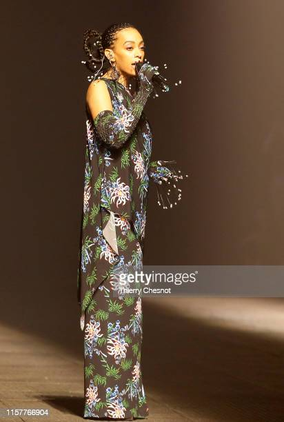 US singer Solange Knowles performs during the runway during the Kenzo Menswear Spring Summer 2020 show as part of Paris Fashion Week on June 23 2019...