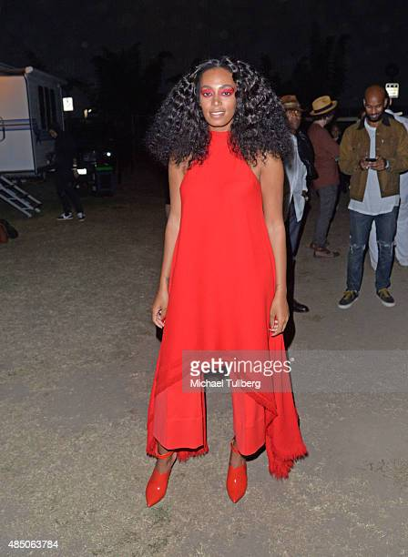 Singer Solange Knowles poses backstage wearing a dress by Gareth Pugh and shoes by Missoni during Day 2 of FYF Fest 2015 at LA Sports Arena...