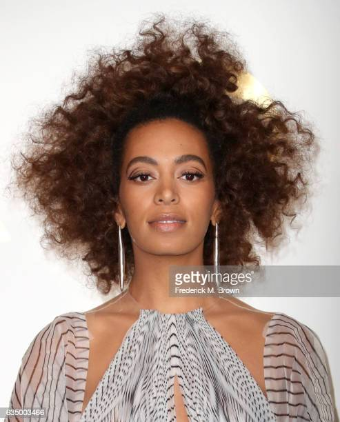 Singer Solange Knowles winner of Best RB Performance for 'Cranes in the Sky' poses in the press room during The 59th GRAMMY Awards at STAPLES Center...