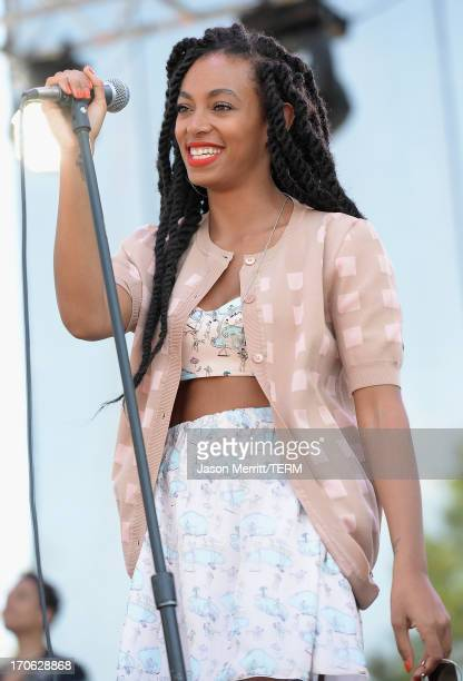Singer Solange performs onstage during day 3 of the 2013 Bonnaroo Music Arts Festival on June 15 2013 in Manchester Tennessee