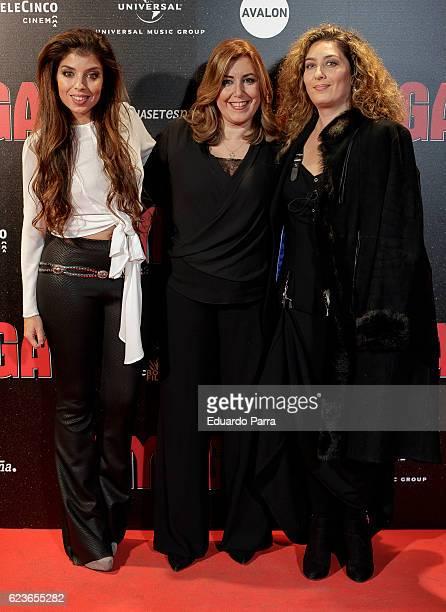 Singer Solea Morente President of Andalucia Susana Diaz and singer Estrella Morente attend the 'Omega' premiere at Capitol cinema on November 16 2016...