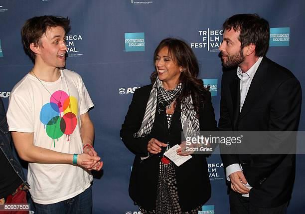 Singer Sondre Lerche Loretta Munos and Tom DeSavia attends the Tribeca ASCAP Music Lounge during the 2008 Tribeca Film Festival on April 30 2008 in...