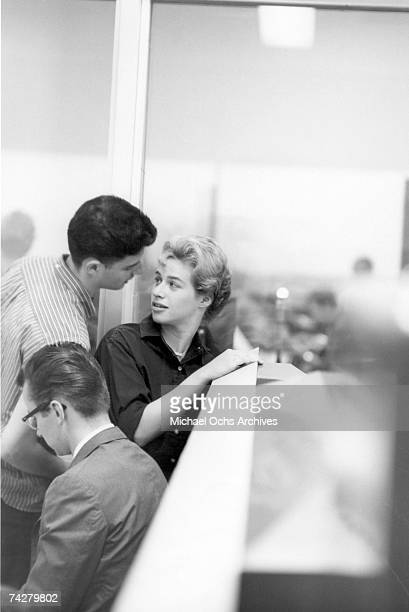 Singer songwiter Carole King with her husband/writing partner Gerry Goffin in a New York New York recording studio circa 1959