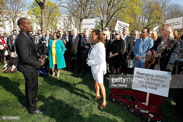 Singer songwriter actor and author Tyrese Gibson and Kathy Sledge of Sister Sledge lead participants of GRAMMYs on the Hill Advocacy Day in a busking...