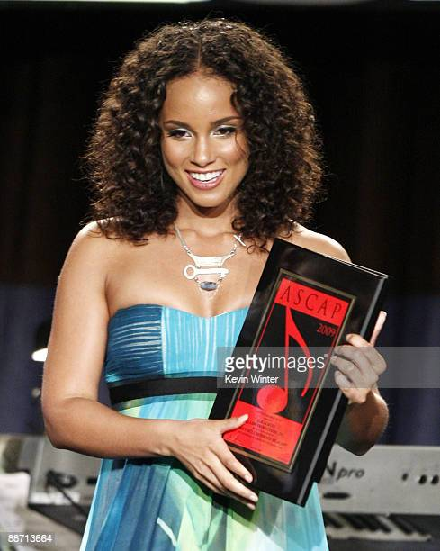 Singer songwriter Alicia Keys receives the Golden Note Award at the 22nd Annual ASCAP Rhythm Soul Music Awards at the Beverly Hilton Hotel on June 26...