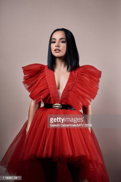 Singer, songwriter and actor Becky G poses for a portrait at the MTV EMAs 2019 studio at FIBES Conference and Exhibition Centre on November 3, 2019...