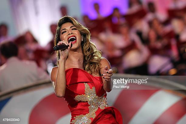 Singer songwriter and actress Nicole Scherzinger performs at A Capitol Fourth 2015 Independence Day Concert dress rehearsals on July 3 2015 in...
